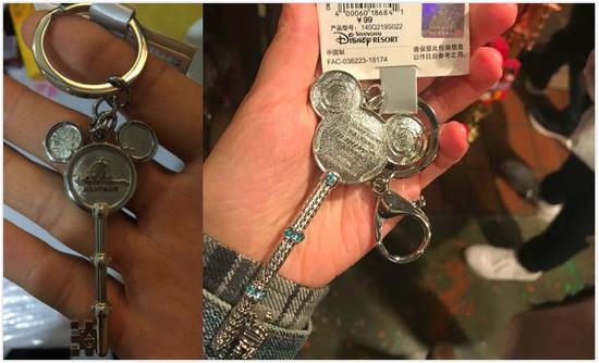 左侧为10元的盗版纪念品,右侧为正版99元纪念品
