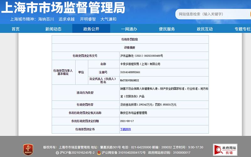 截图来源:上海市市场监督管理局网站